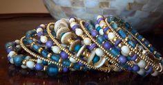 Beaded Wrap Bracelet, Recycled Vintage Bracelet, Memory Wire Bracelet, Wrap Around Bracelet, Beaded Bracelet Cuff, Stacked Bracelet. $35.00, via Etsy.