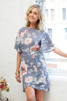 Moonlight Dress in Grey Floral | St. Frock