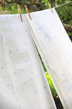 Blue Flora Linen by Peony & Sage Fabrics