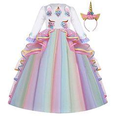 OBEEII Bambine Costumi Unicorno Arcobaleno Abito Principessa Carnevale Vestito da Ragazza Festa Halloween Natale Cerimonia Cosplay Party Unicorn Costume 3-10 Anni
