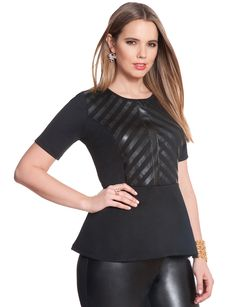 Plus Size Fashion - Ponte Faux Leather Peplum Top $88 PLUS 50% OFF w/ Promo Code SPLURGE | Earn Cashback when you shop at ELLOQUII.com! Sign up with DubLi for FREE at www.downrightdealz.net and GET PAID for all your online shopping!