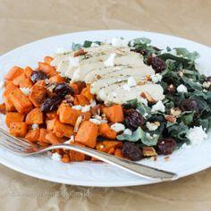 Roasted Sweet Potato Kale Salad | http://americanheritagecooking.com