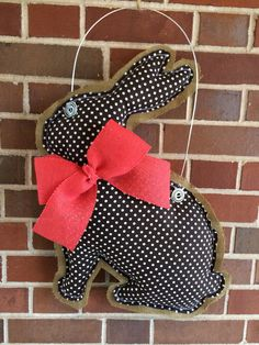Burlap Chocolate Easter Bunny Door Hanger by EverTwoClever on Etsy, $20.00