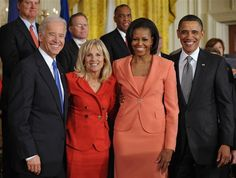 President Barack Obama and First Lady Michelle Obama pose with Vice President Joe Biden and his wife Jill Biden