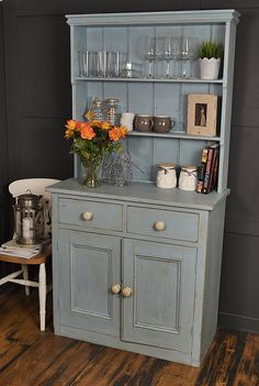Do kitchen dressers get any better than this!? We adore this pretty Victorian piece which we've painted in a pastel vintage blue, lightly distressed and aged with dark wax. Farmhouse style in abundance! http://www.thetreasuretrove.co.uk/kitchen-storage/blue-shabby-chic-victorian-kitchen-dresser
