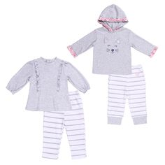 e3c6d8d0a5d Twin Baby Girls Clothing Sets 69 Month LongSleeve Tunic Hooded Top and  Leggings   For even