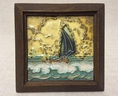 1920s 30s TUBE LINED WESTRAVEN UTRECHT DUTCH TILE SAIL BOAT - FRAMED
