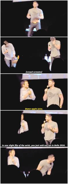 """[gifset] Jensen flashes us his tummy and blames the """"apple juice"""" :P"""