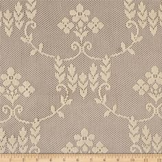 Festoon Lace Natural from @fabricdotcom  Delicate and classic, this sheer lace has no significant stretch and a pearlized sheen. This lace fabric appropriate for lingerie, overlays on skirts or dresses, feminine apparel accents, wraps or shrugs, and even home decor accents.