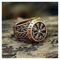 Bronze Vegvisir Futhark Runes Vikings Compass Magic Stave Nordic... ❤ liked on Polyvore featuring jewelry, rings, adjustable rings, bronze jewelry and bronze ring