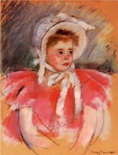 Simone in White Bonnet Seated with Clasped Hands (no.1) - Mary Cassatt, c.1903