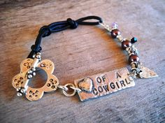 HEART+OF+A+COWGIRL+Leather+Bracelet++Pearl+and+by+HeartofaCowgirl,+$79.00