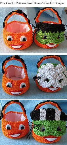 free crochet pattern. pumpkin basket with masks.