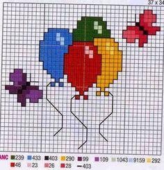 Resultado de imagen para ponto cruz ursinho com balão