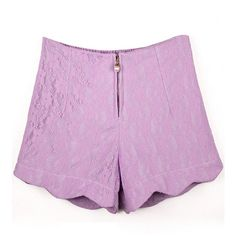 LUCLUC Lanvender Lace Cotton Shorts (230 MXN) ❤ liked on Polyvore featuring shorts, cotton shorts, lace shorts and lacy shorts