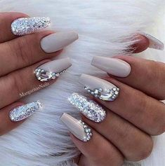 Sparkly Coffin Nail Design Nude White Silver Rhinestone Matte Shiny Acrylic Coffin Long Nail Ideas Manicure - French tip - Square shaped long nails - cute summer fall spring fingernails - gel nails - shellac - Elegant Nail Designs, Elegant Nails, Acrylic Nail Designs, Nail Art Designs, Sparkly Nail Designs, Classy Nails, Silver Glitter Nails, Rhinestone Nails, Nude Nails