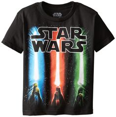 a498d79f1c1 Star Wars Boys' Saber Rise T-Shirt: The illuminating lights of the colorful  light sabers as they beam over the galaxys.
