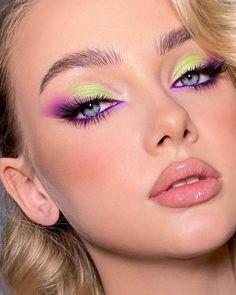 Purple Makeup Looks, Makeup Eye Looks, Green Makeup, Creative Makeup Looks, Colorful Eye Makeup, Eye Makeup Art, Glam Makeup, Skin Makeup, Eyeshadow Makeup