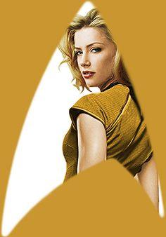 star trek au: genderswap (amber heard as kirk and erica durance as spock)