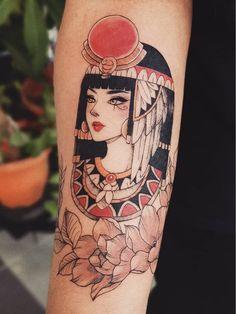 Egyptian tattoo by peithedragon Crip Tattoos, Head Tattoos, Mom Tattoos, Body Art Tattoos, Sleeve Tattoos, Arabic Tattoos, Tatoos, Tattoo Script, Tattoo Set