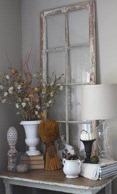 fall decor with a neutral feel. for our sunroom , using the leaf picture and added accents.