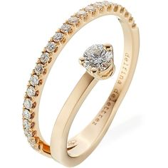 Delfina Delettrez Marry Me 18kt Pink Gold Ring ($5,180) ❤ liked on Polyvore featuring jewelry, rings, gold, rose gold ring, rose gold jewelry, rose gold jewellery, red gold jewelry and stackers jewelry