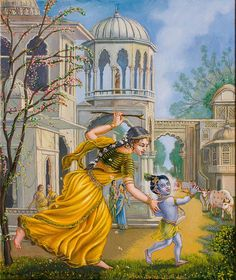 Mother Yashoda Chasing baby Krishna, oil on canvas by Dominique Amendola. Mother yashoda found baby Krishna with the broken pots, distributing the yogurt to the monkeys. She is chasing him with a stick and trying to catch him. This will prove difficult since He is the Supreme Bhagavan, but she'll succeed because her love for Him is so great... #art #painting #Krishna. Fine art prints available, just click on this image. This image is under strict copyright to Dominique Amendola.