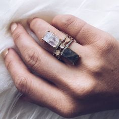 Emerald cut Labradorite Stacking ring - local eclectic  - 7