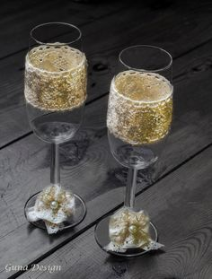 Countryside Wedding Champagne Glasses with Lace and Tinny Beads by gunadesign