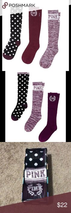 Victoria Secret 3 Pairs Knee High Socks Boxed Brand new PINK Victoria's Secret Accessories Hosiery & Socks