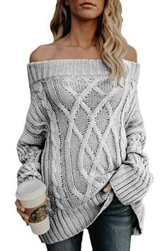 f93476dba8 Knitwear Fall Winter Warm Thicken Thick Line Off Shoulder Pullover Sweater  Women