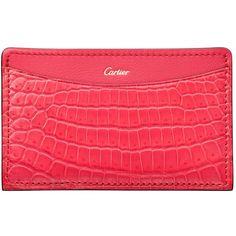 0261ffcfdd50 Cartier C de Cartier Crocodile Card Holder (2,180 PEN) ❤ liked on Polyvore  featuring bags, wallets, red wallet, pocket wallet, card holder wallet, ...