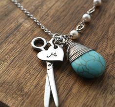 Hairdresser Necklace $26 http://www.sierrametaldesign.com/collections/jewelry/products/hairdresser-gifts-hairdresser-necklace-hairdresser-jewelry-scissors-necklace-stylist-necklace-seamstress-necklace-personalized-necklace