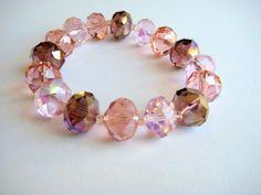 Chunky Pink Crystal Stretch Bracelet - $10.99 at www.VintageRenude.com #PinkCrystal   #StretchBracelet