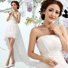 Romantic White Lace High Low Summer Beach Wedding Bridal Party Dress SKU-166126