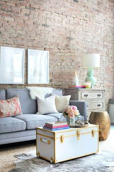 Coffee Table View In Gallery Off White Trunk With Gold Edging And Buckles Metal