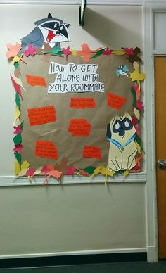 This was my lighthearted board for my Pocahontas theme in November. We were about a month and a half into the semester and my residents were beginning to have some roommate issues pop up, so I thought this would be a fun way of addressing it in a non-confrontational way. Percy and Meeko are great examples of two strong personalities who learn to live together peacefully--and they were a lot of fun to paint!