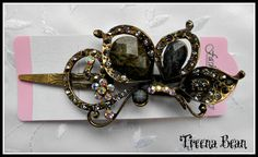 Vintage Charcoal Butterfly Wing Jeweled Hair Clip by TreenaBean, $19.95
