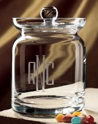 Personalized Deep Etched Monogrammed Executive Snack Jar, Create Beautiful & Unique Personalized Engraved Crystal Barware, Glassware, Drinkware at Affordable Prices Personalised Biscuits, Snack Jars, Glass Candy Jars, Jar Design, Personalized Candy, Engraved Gifts, Jar Gifts, Consumer Products, Candy Dishes