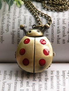 Retro copper red ladybird ladybug can open pocket watch necklace. Guys brought these back from Vietnam.