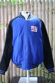 New York Giants Stadium Team Varsity Wool Leather Jacket Coat NFL Mens XL #NFL #VarsityBaseball
