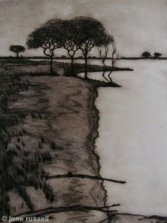 Shoreline - Drypoint etching by June Russell Intaglio Printmaking, Collagraph, Drypoint Etching, Etching Prints, Tinta China, Chiaroscuro, Art For Art Sake, Landscape Art, Illustrations Posters