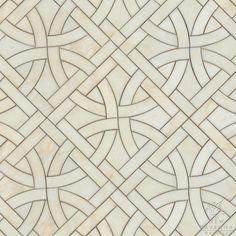 Gran Via, a natural stone waterjet mosaic shown in Cloud Nine polished, is part of the Miraflores Collection by Paul Schatz for New Ravenna Mosaics.