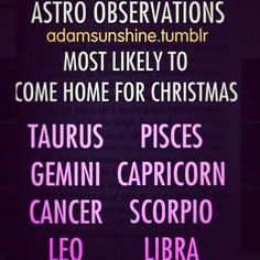 Zodiacs who come home for the Holidays