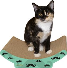 We love the Cozy Mustache Scratch! soon to be found on Paws En Vogue at www.pawsenvogue.com ! :-)  - Made in the USA from recycled paper.   - 100% recyclable with cardboards after use.   - Labels are printed with eco-sol soy-based inks.   - 100% Certified organic catnip included