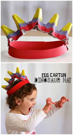 Egg Carton Dinosaur Hat Craft for Kids to make! A colorful and fun activity for a dinosaur unit in preschool or kindergarten! Kids Crafts, Hat Crafts, Crafts For Kids To Make, Toddler Crafts, Preschool Crafts, Projects For Kids, Project Ideas, Dragon Crafts, Dinosaurs Preschool