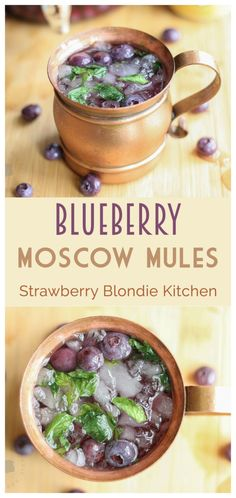 Blueberry Moscow Mules are a sweet and delicious twist on the classic 1940's cocktail that's been taking the bar scene by storm, the Moscow Mule.  Made with homemade blueberry vodka, lime, ginger beer and muddled mint these are sure to be your next go to cocktail recipe for the simplicity and ease of this deliciously refreshing beverage   Strawberry Blondie Kitchen
