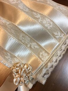 Ecru Ribbon and Lace Baby Bonnet. Ecru Ribbon and Lace Baby Bonnet. Ribbon Rosettes, Ribbon Art, Lace Ribbon, Ribbons, Beaded Trim, Lace Trim, Ribbon Embroidery, Machine Embroidery, Beautiful Baby Pictures