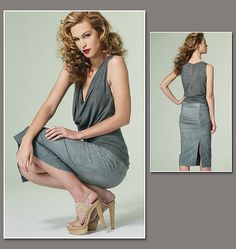 Donna Karan Collection Drape Front Top and Skirt for Vogue Sewing Patterns.    • Vogue pattern no. V1292    http://voguepatterns.mccall.com/v1282-products-16413.php?page_id=174