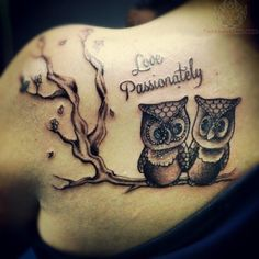 Love Passionately - Owl Tattoo On Back Shoulder
